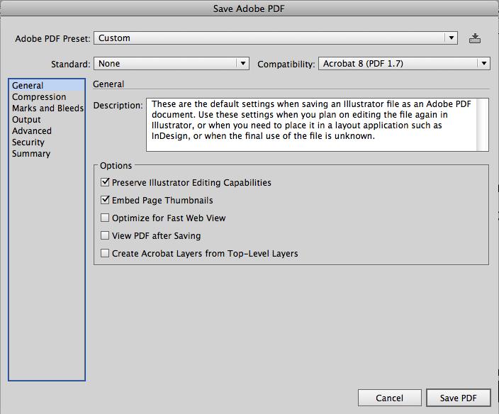 настройки для экспорта PDF из Adobe Illustrator