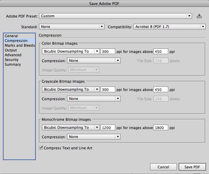 проверяем настройки разрешения и компрессии для будущего PDF файла