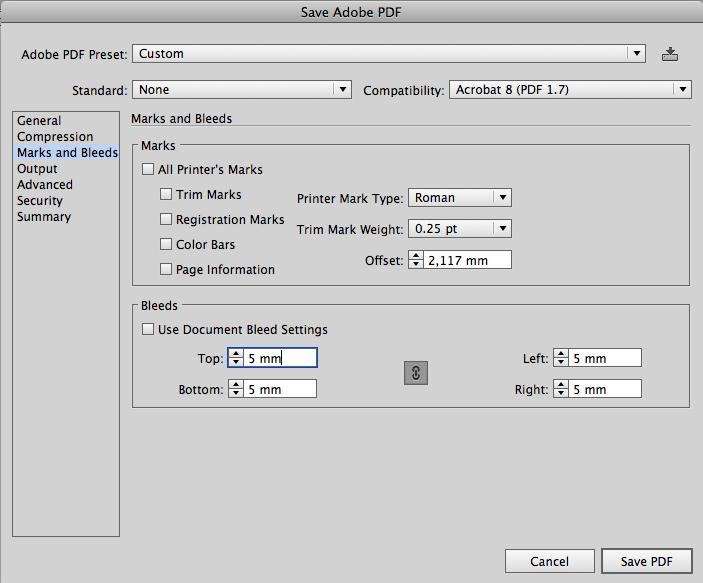 проверяем настройки технологических меток и вылетов для будущего PDF файла