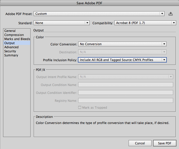 проверяем настройки цвета для будущего PDF файла