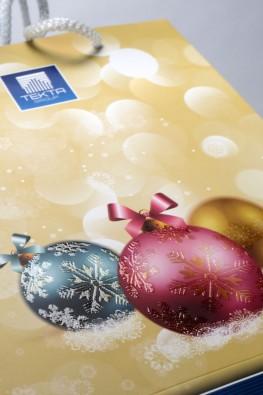 """Новогодний бумажный пакет с логотипом """"Tecta Group"""""""