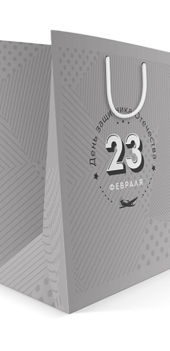 Бумажный пакет к 23 февраля Silver