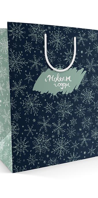 Готовый бумажный пакет к Новому году
