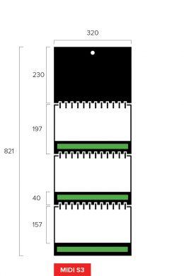 Размеры квартального календаря-трио Midi Slim 3