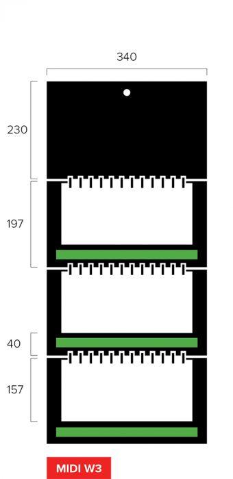 Размеры квартального календаря-трио Midi Wide 3