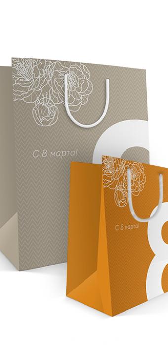 Бумажный пакет к 8 марта «Большая восьмерка» яркий и бледный