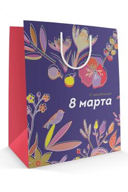 Бумажный пакет к 8 марта «Серенада» Красные бока