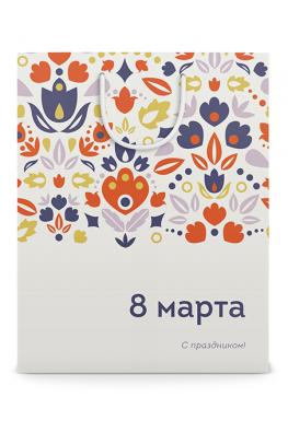 Бумажный пакет к 8 марта Цветочная поляна