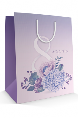 Бумажный пакет к 8 марта «Нежный букет»