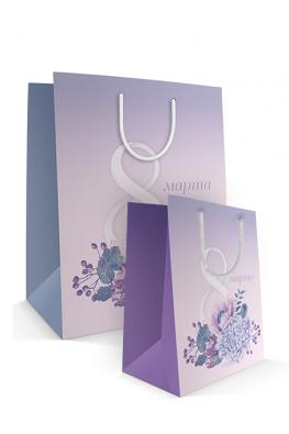 Бумажный пакет к 8 марта «Нежный букет» 2 размера