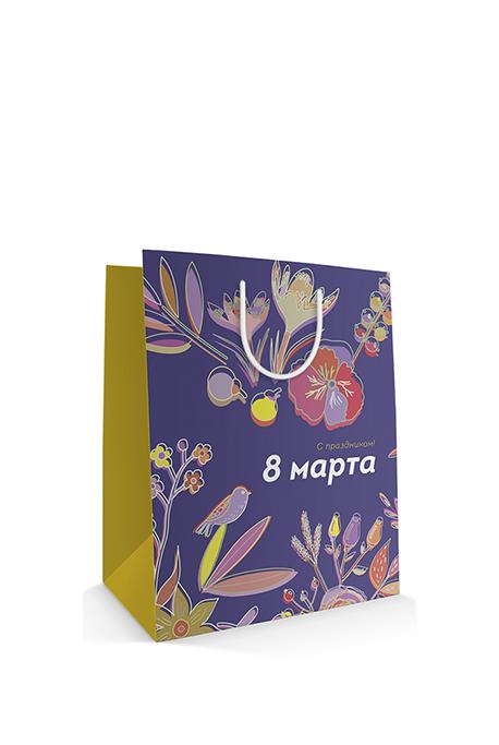 Бумажный пакет с веревочными ручками к празднику 8 марта