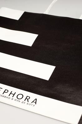 Бумажный крафт пакет с ручками из крафта Sephora