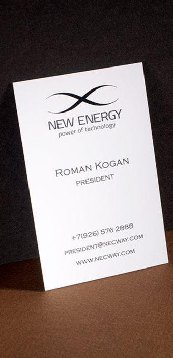 Визитная карточка президента компании New Energy