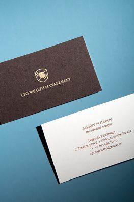 Многослойная визитка для сотрудника компании UFG Wealth Management