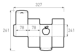 Коробка из 1 слойного картона 78x78x78 с окном в форме яблока