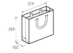 Горизонтальный бумажный пакет Г319x259x102
