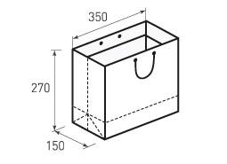 Горизонтальный бумажный пакет Г350x270x150