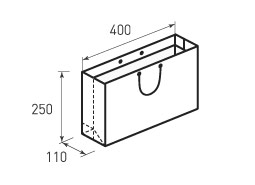 Горизонтальный бумажный пакет Г400x250x110