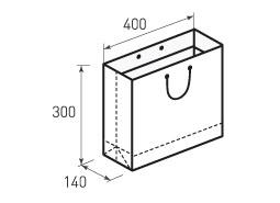 Горизонтальный бумажный пакет Г400x300x140