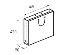 Горизонтальный бумажный пакет Г460x420x90