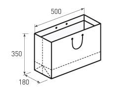 Горизонтальный бумажный пакет Г500x350x180