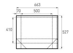 Горизонтальный бумажный пакет Г500x410x140