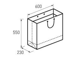 Горизонтальный бумажный пакет Г600x550x230