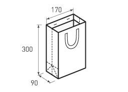Вертикальный бумажный пакет В170x300x90 с лентами