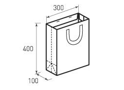 Вертикальный бумажный пакет В300x400x100 с лентами