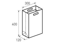 Вертикальный бумажный пакет В300x400x120 с лентами