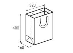 Вертикальный бумажный пакет В320x400x160(2) с лентами