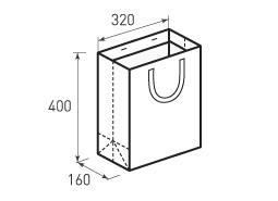 Вертикальный бумажный пакет В320x400x160 с лентами