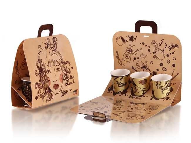 Бумажный пакет для стаканчиков с кофе