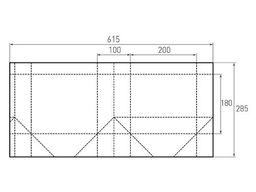 Штамп для вырубки горизонтального бумажного пакета g 200-180-100. Привью 500x375 пикселов.