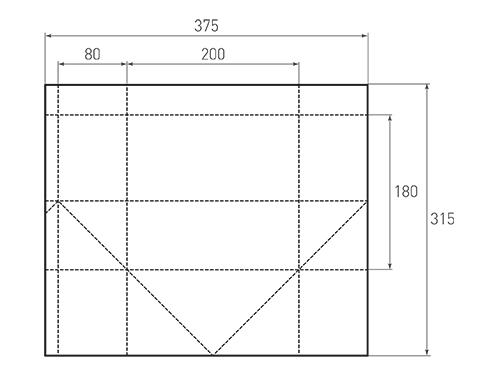 Штамп для вырубки горизонтального бумажного пакета g 200-180-160. Привью 500x375 пикселов.