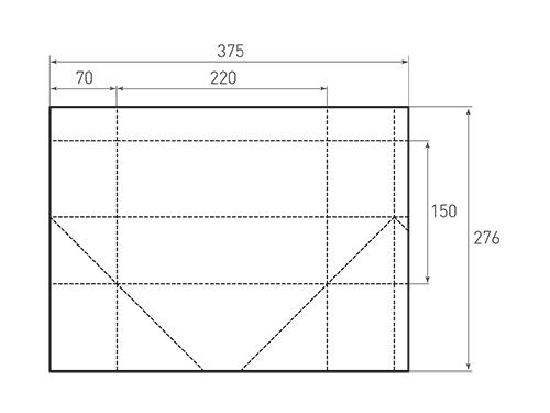 Штамп для вырубки горизонтального бумажного пакета g 220-150-140. Привью 500x375 пикселов.