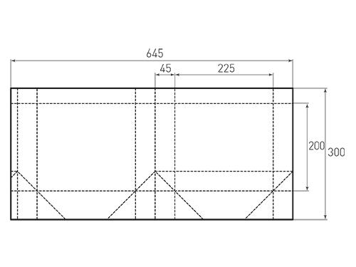 Штамп для вырубки горизонтального бумажного пакета g 225-200-90. Привью 500x375 пикселов.