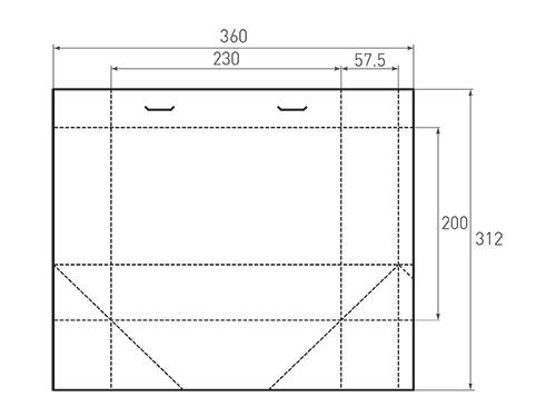 Штамп для вырубки горизонтального бумажного пакета g 230-200-115. Привью 500x375 пикселов.