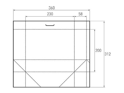 Штамп для вырубки горизонтального бумажного пакета g 230-200-116. Привью 500x375 пикселов.