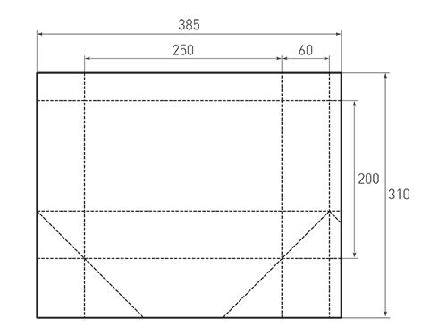 Штамп для вырубки горизонтального бумажного пакета g 250-200-120. Привью 500x375 пикселов.