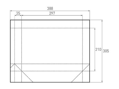 Штамп для вырубки горизонтального бумажного пакета g 297-210-70. Привью 500x375 пикселов.