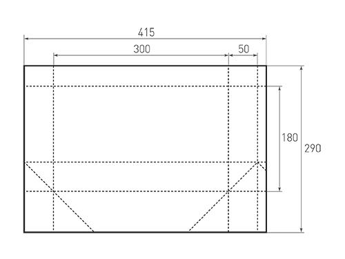 Штамп для вырубки горизонтального бумажного пакета g 300-180-100. Привью 500x375 пикселов.