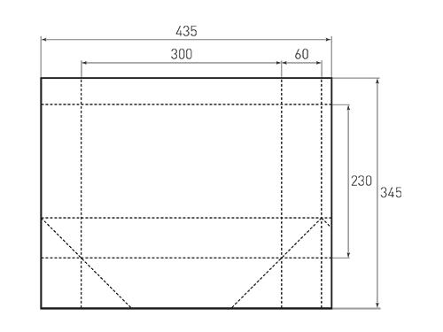 Штамп для вырубки горизонтального бумажного пакета g 300-230-120. Привью 500x375 пикселов.