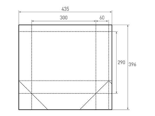 Штамп для вырубки горизонтального бумажного пакета g 300-290-120. Привью 500x375 пикселов.