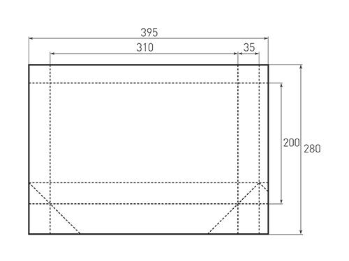 Штамп для вырубки горизонтального бумажного пакета g 310-200-70. Привью 500x375 пикселов.