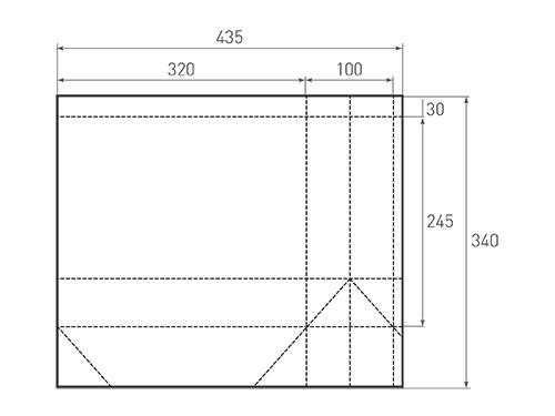 Штамп для вырубки горизонтального бумажного пакета g 320-245-100. Привью 500x375 пикселов.