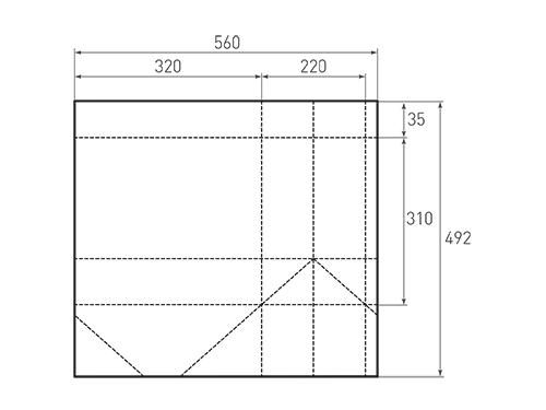 Штамп для вырубки горизонтального бумажного пакета g 320-310-220 (1 шт. на штампе). Привью 500x375 пикселов.