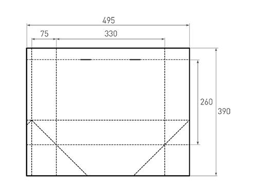 Штамп для вырубки горизонтального бумажного пакета g 330-260-150 (1 шт. на штампе). Привью 500x375 пикселов.