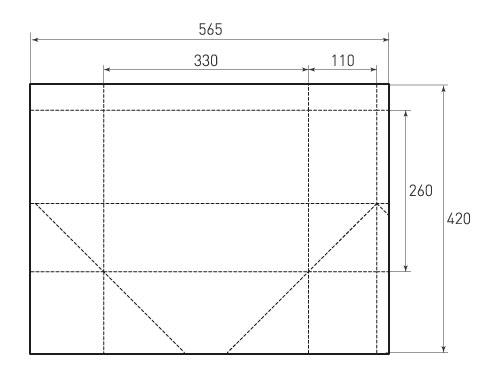 Штамп для вырубки горизонтального бумажного пакета g 330-260-220 (1 шт. на штампе). Привью 500x375 пикселов.