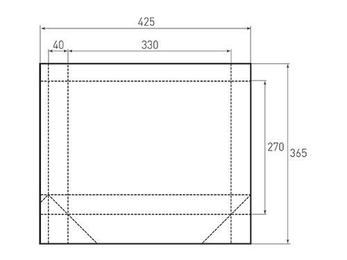 Штамп для вырубки горизонтального бумажного пакета g 330-270-80 (1 шт. на штампе). Привью 500x375 пикселов.